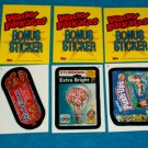 WACKY PACKAGES ANS5 *** THREE BONUS STICKERS*** B1,B2,B3