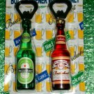 PACK OF TWO BOTTLE OPENERS (MAGNETS) HEINCKER & BUDWHEAT like WACKY PACKAGES!!