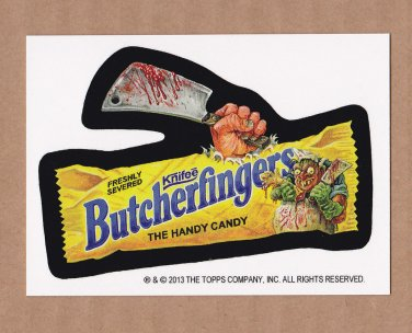 "2013 WACKY PACKAGES HALLOWEEN SERIES ""BUTCHERFINGERS"" BIO CARD by SMOKIN'JOE"