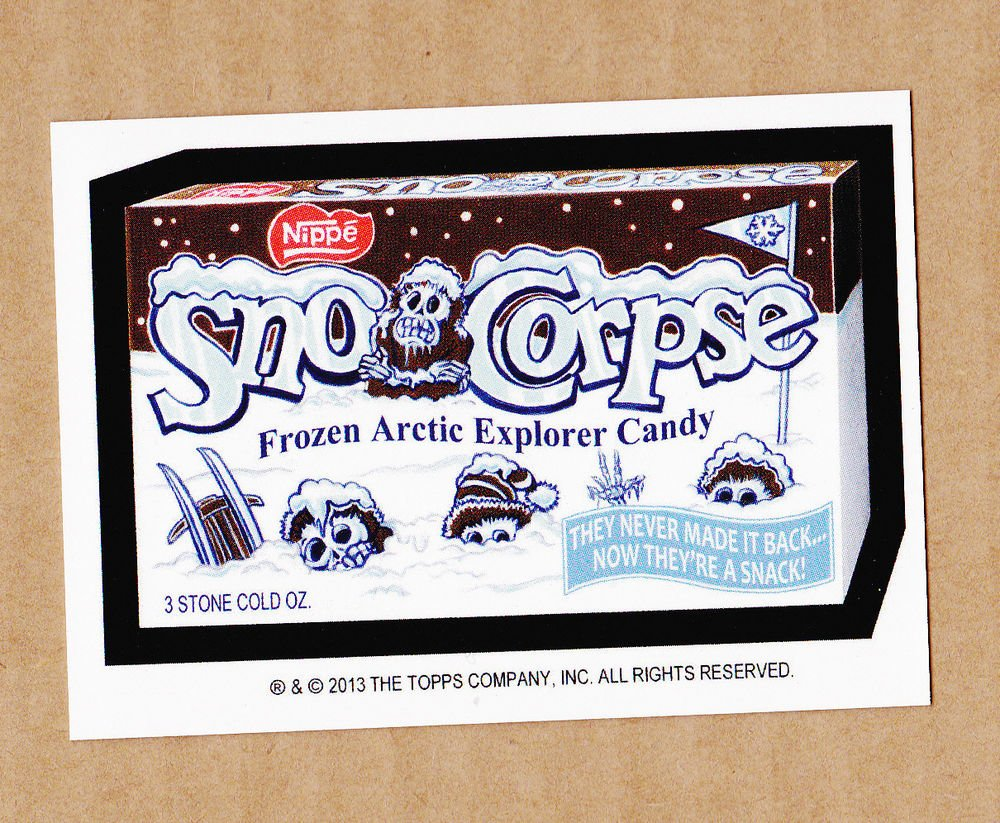 "2013 WACKY PACKAGES HALLOWEEN SERIES ""SNO-CORPSE"" BIO CARD by NEIL CAMERA"