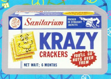"""WACKY PACKAGES FLASHBACK1 SILVER BORDER """"""""KRAZY CRACKERS"""""""" #38  NM"""