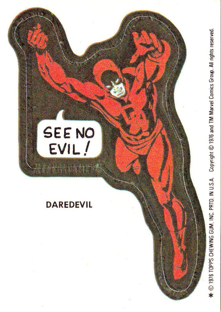 1976 MARVEL COMIC BOOK SUPER HEROES STICKER CARD **DAREDEVIL** GPK