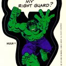 1975 MARVEL COMIC BOOK SUPER HEROES **HULK-1** STICKER CARD