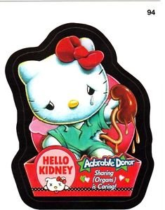 """2015 WACKY PACKAGES SERIES 1 """"HELLO KIDNEY"""" #94 STICKER! NM"""