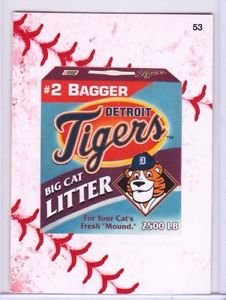 """2016 WACKY PACKAGES BASEBALL SERIES1 LACE BORDER """"DETROIT TIGERS CAT LITTER"""" #53"""