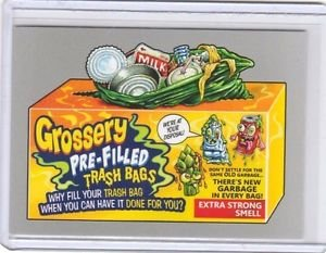 """2017 WACKY PACKAGES 50th ANNIVERSARY SILVER STICKER """"GROSSERY TRASHBAGS"""" 7/50"""
