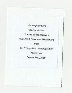 2017 TOPPS WACKY PACKAGES 50th DUAL ARTIST PANORAMIC SKETCH REDEMPTION CARD