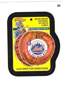 """2016 WACKY PACKAGES BASEBALL SERIES 1 """"NY METS DELI MEAT MITTS"""" #29 STICKER CARD"""