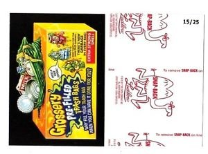 """2017 Wacky Packages 50th Anniversary RED LUDLOW """"GROSSERY TRASH BAGS"""" 15/25"""
