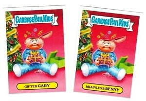 """2016 GARBAGE PAIL KIDS X-MAS EXCLUSIVES """"GIFTED GARY & BRAINLESS BENNY"""" #6a & b"""