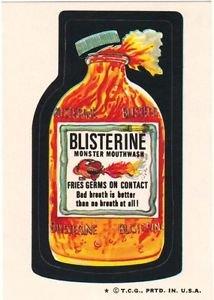 "1974 WACKY PACKAGES WONDER BREAD 2nd SERIES ""BLISTERINE"" STICKER NM"