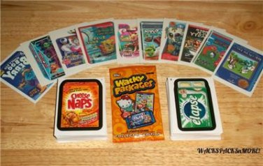 """2015 WACKY PACKAGES SERIES 1 COMBO """"COMPLETE 110 BASIC CARDS & TATTOO SET + MORE"""