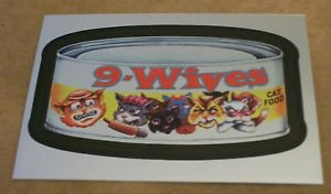 """WACKY PACKAGES CHROME SERIES 1 """"9-WIVES"""" #17 CUTTING ROOM FLOOR INSERT CARD"""