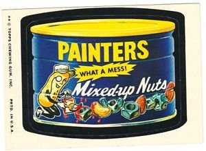 """1974 WACKY PACKAGES ORIGINAL 10TH SERIES """"PAINTERS PEANUTS"""" STICKER CARD"""