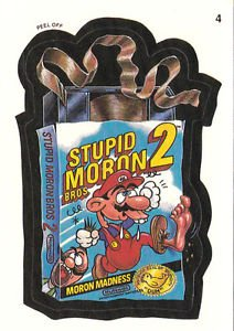 "WACKY PACKAGES 1991 SERIES ""STUPID MORON BROS"" #4 STICKER CARD"
