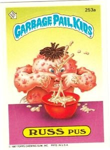 "1987 GARBAGE PAIL KIDS ORIGINAL 7TH SERIES ""RUSS PUS"" #253a STICKER CARD"