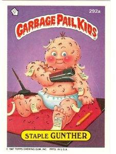 "1987 GARBAGE PAIL KIDS ORIGINAL 7TH SERIES ""STAPLE GUNTHER"" #292a STICKER CARD"