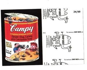 """2017 Wacky Packages 50th Anniversary BLACK LUDLOW """"CAMPY SOUP"""" 24/99"""