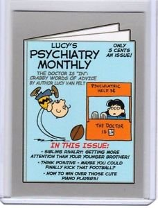 """2017 WACKY PACKAGES 50th ANNIVERSARY SILVER STICKER """"LUCY'S PSYCHIATRY"""" 05/50"""