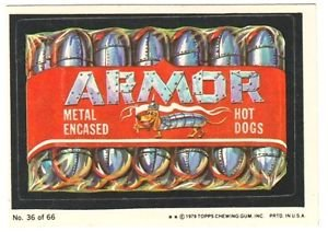 """1979 WACKY PACKAGES 1ST SERIES """"ARMOR HOT DOGS"""" #36 STICKER CARD"""