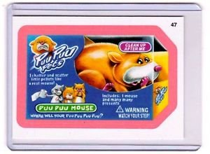 """2011 WACKY PACKAGES ALL NEW SERIES 8 {ANS8} PINK BORDER CARD """"PUU PUU PETS"""" #47"""