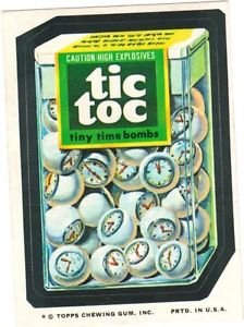 """1974 WACKY PACKAGES ORIGINAL 10TH SERIES """"TIC TOC"""" STICKER CARD"""