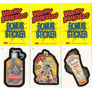 2006 WACKY PACKAGES ALL NEW SERIES 4 (ANS4) **THREE BONUS STICKERS** B2,B3,B4