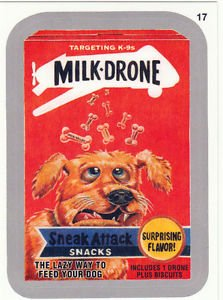 """2015 WACKY PACKAGES SERIES 1 SILVER BORDER """"MILK-DRONE"""" #17 STICKER CARD"""