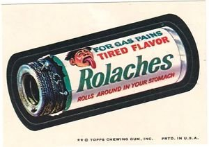 """1974 WACKY PACKAGES ORIGINAL 8TH SERIES """"ROLACHES"""" STICKER"""