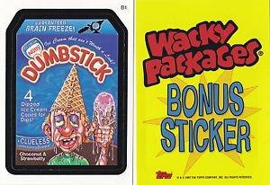"""2007 WACKY PACKAGES ALL SERIES 6 {ANS6} """"DUMBSTICK"""" BONUS STICKER CARD  B1"""