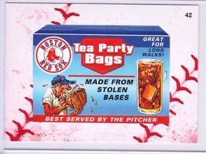 """2016 WACKY PACKAGES BASEBALL SERIES 1 LACE BORDER """"BOSTON RED SOX TEA BAGS"""" #42"""