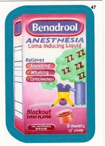 """2013 WACKY PACKAGES ALL NEW SERIES 10 {ANS10} BLUE BORDER """"BENADROOL"""" #47"""