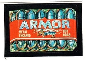 """1986 WACKY PACKAGES ALBUM SERIES STICKER """"ARMOR HOT DOGS"""" #38 ONLY 99 CENTS"""