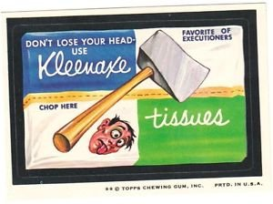 "1974 WACKY PACKAGES ORIGINAL 8TH SERIES ""KLEENAXE TISSUES"" STICKER"