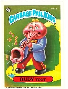 "1986 GARBAGE PAIL KIDS ORIGINAL 4TH SERIES ""RUDY TOOT"" #144b STICKER CARD"
