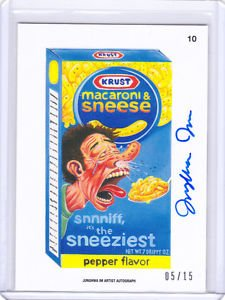 """2015 WACKY PACKAGES SERIES 1 """"MACARONI & SNEESE"""" ARTIST AUTO by JUNGHWA IM 05/15"""