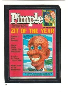 """TOPPS WACKY PACKAGES 1986 SERIES ALBUM STICKER """"PIMPLE"""" #76 ONLY 99 CENTS"""
