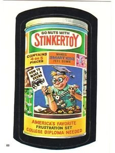 """TOPPS WACKY PACKAGES 1986 SERIES ALBUM STICKER """"STINKERTOY"""" #69 ONLY 99 CENTS"""