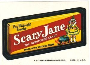 """1974 WACKY PACKAGES ORIGINAL 10TH SERIES """"SCARY JANE"""" STICKER CARD"""