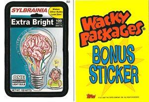2007 WACKY PACKAGES ALL NEW SERIES 5 (ANS5) *SYLBRAINIA BULBS* BONUS STICKER B2