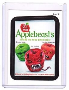 """2013 WACKY PACKAGES ALL NEW SERIES 11 {ANS11} RUDE FOOD INSERT """"APPLEBEAST'S"""" #9"""