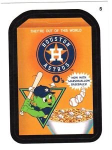 "2016 WACKY PACKAGES BASEBALL SERIES 1 ""HOUSTON ASTROS O'S"" #5 STICKER CARD"