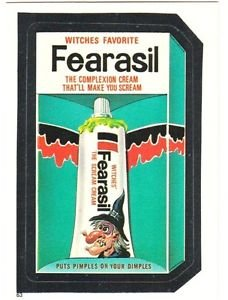 """1986 WACKY PACKAGES ALBUM SERIES STICKER """"FEARASIL"""" #63 ONLY 99 CENTS"""