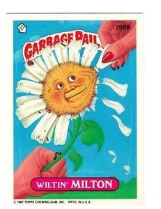"""1987 GARBAGE PAIL KIDS ORIGINAL 8TH SERIES """"WILTIN'MILTON"""" #296b NM"""