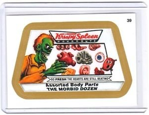 "2015 WACKY PACKAGES SERIES 1 GOLD BORDER ""KRISPY SPLEEN"" #39 STICKER CARD"