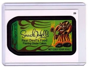 """2015 WACKY PACKAGES SERIES 1 """"SNACK HELL'S"""" #29 STICKER CARD"""