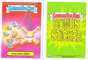 """2015 GARBAGE PAIL KIDS SERIES 1  """"WRECKING BiLL"""" B9a BONUS STICKER"""
