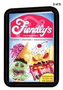 """2013 WACKY PACKAGES ALL NEW SERIES 11 {ANS11} RUDE FOOD INSERT """"FIENDLY'S"""" #2"""