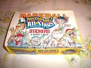VINTAGE BASEBALLS AWESOME ALL-STARS STICKERS BOX WITH 36 PACKS-FUNNY LIKE GPK