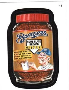 """2016 WACKY PACKAGES BASEBALL SERIES 1 """"BREWERS BREWED COFFEE"""" #11 STICKER CARD"""